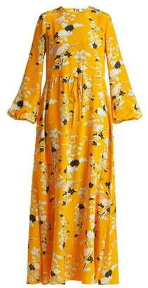 Diane von Furstenberg Walden Marigold Print Silk Maxi Dress - Womens - Yellow Print