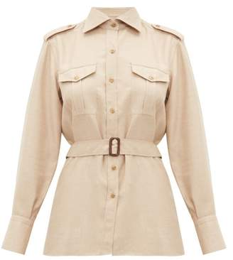 Giuliva Heritage Collection The Aurora Belted Camel Hair Blend Shirt - Womens - Beige