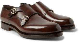 Santoni Polished-Leather Monk-Strap Shoes