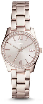 Fossil Scarlette Three-Hand Date Pastel Pink Stainless Steel Watch