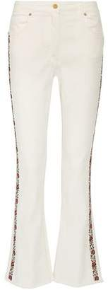 Etro Embroidered High-Rise Bootcut Jeans