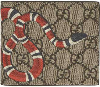 Gucci Beige GG Supreme Snake Wallet