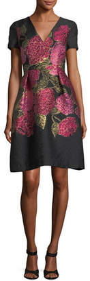 Carolina Herrera V-Neck Short-Sleeve Floral Jacquard Dress
