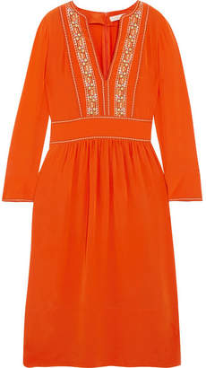 Vanessa Bruno - Hervine Embroidered Silk Midi Dress - Orange