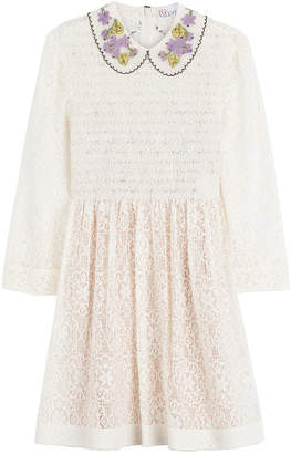 RED Valentino Smocked Lace Dress with Collar