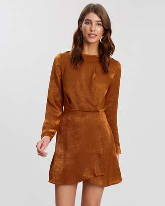 Missguided Long Sleeve Wrap Dress