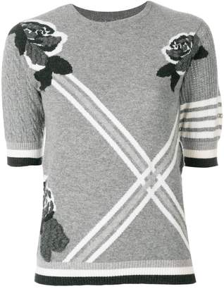 Thom Browne Rose Intarsia Cashmere Tee Shirt