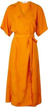 Gestuz Ami Oranged Brushed Satin Wrap Dress