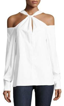 Rag & Bone Collingwood Cold-Shoulder Long-Sleeve Top, White