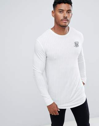 SikSilk long sleeve t-shirt in white rib