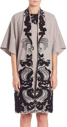 Natori Women's Embroidered Wide Sleeve Topper