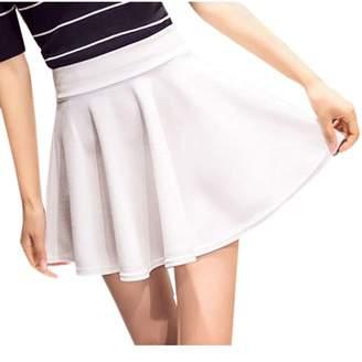 yulinge Womens Summer Casual Elastic Waist A Line Mini Dress Pleated Skirts L