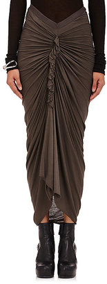 Rick Owens Women's Ruched Jersey Skirt $520 thestylecure.com