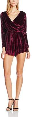 Glamorous Glamorous, Women's Wrap Front Long Sleeve Playsuit,(((Manufacturer Size:S)))