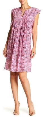 Rebecca Taylor Shibori Cap Sleeve Silk Dress