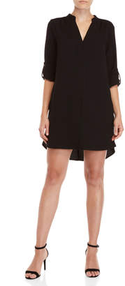 Lush Black V-Neck Shirtdress