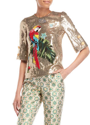 Dolce & Gabbana Gold Parrot Sequin Top