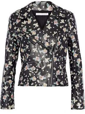 Rebecca Minkoff Wes Floral-Print Leather Biker Jacket