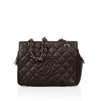 Chanel Petite Shopping Tote Brown Leather Handbag