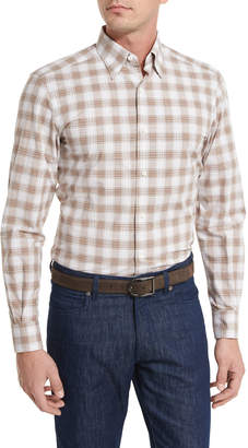 Ermenegildo Zegna Check Plaid Sport Shirt, Brown