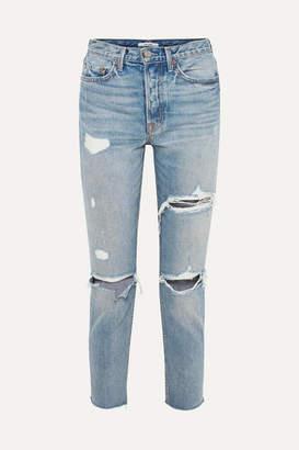 GRLFRND Karolina Distressed High-rise Skinny Jeans - Light denim