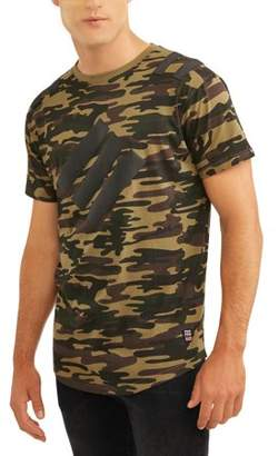 Phat Farm Men's Big And Tall Short Sleeve Printed Camo Jersey With Rubber Patch