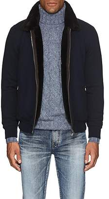 Fioroni Men's Fur-Lined Cashmere Bomber Jacket - Navy