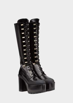 Versace Lace-up High Boot