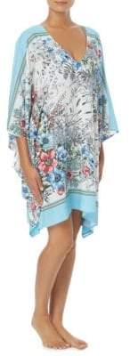 Vince Camuto V-Neck Bordered Floral Cover-Up Caftan