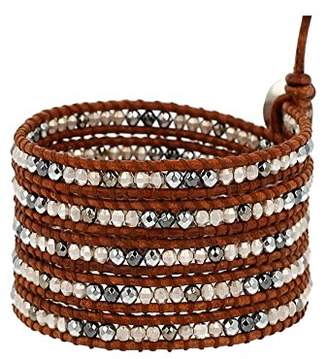 Chan Luu Hematine Mix Beaded Wrap Bracelet on Leather