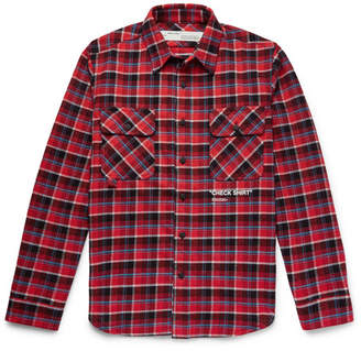 Off-White Off White Printed Checked Cotton-Blend Flannel Overshirt - Red