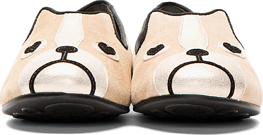 Marc by Marc Jacobs Beige Suede Shorty The Boston Terrier Critters Loafers