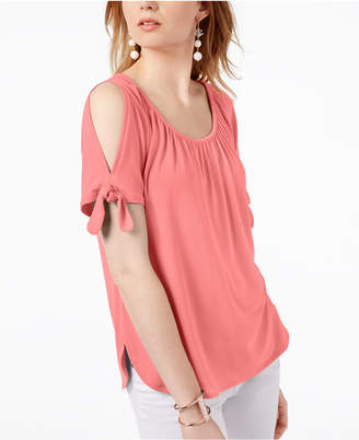 INC International Concepts I.n.c. Cold-Shoulder Tie-Sleeve Top, Created for Macy's