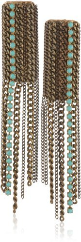 Swarovski Annie Hammer Jewelry Turquoise and Multi-Chain Earrings
