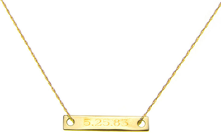 Ginette_ny Mini Monogram Baguette Necklace, Gold