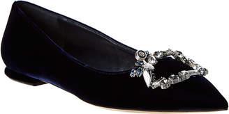 Christian Dior Embellished Velvet Ballerina Flat