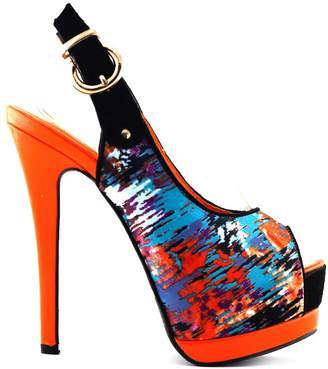 story. Show New Sexy Women's Multi Colored Pattern Peep Toe Slingback Stiletto Platform Pump Heels Shoes,LF80901OR38,7US