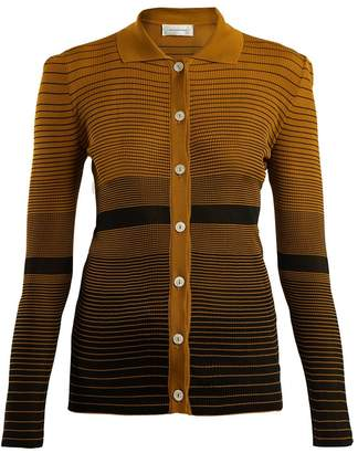 Wales Bonner Spread-collar striped-jacquard cardigan