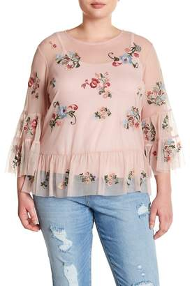 Democracy Mesh Embroidered Ruffle Blouse (Plus Size)