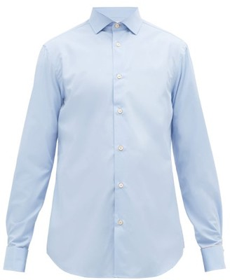 Paul Smith Artist Stripe Double Cuff Cotton Shirt - Mens - Light Blue