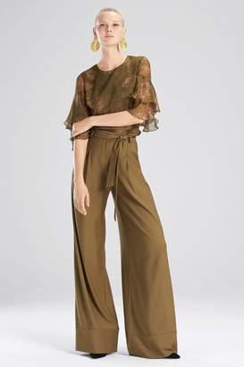 Josie Natori Primrose Silk Chiffon Tiered Sleeve Top