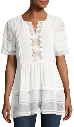 Willow & Clay Lace-Inset Peasant Blouse, White $79 thestylecure.com