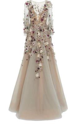 Marchesa Plunging Neckline Embroidered Ballgown