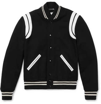 Saint Laurent Leather-Trimmed Wool-Blend Bomber Jacket