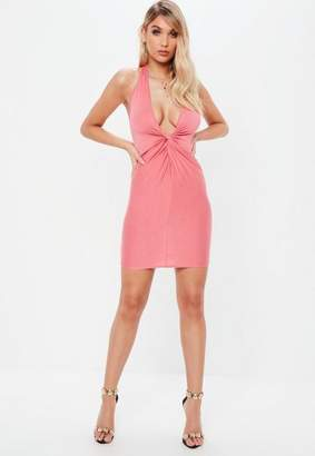 Missguided Pink Twist Front Halterneck Bodycon Dress