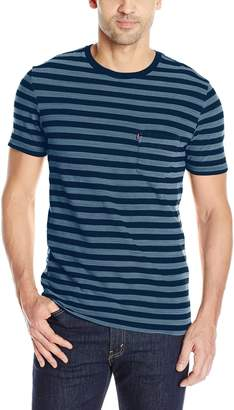 Levi's Men's Set-in Sunset Pocket T-Shirt, Half Stripe Dark Blue/Indigo