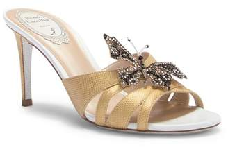 Rene Caovilla Embellished Butterfly Reptile-Embossed Heeled Sandal