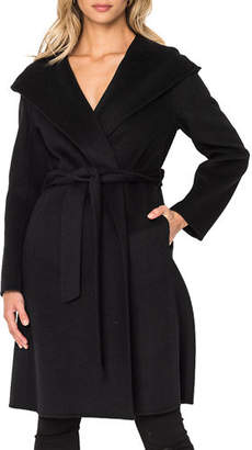 LAMARQUE Hooded Wool Long Coat w/ Belt