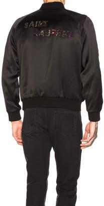 Saint Laurent Teddy Varsity Jacket in Black | FWRD