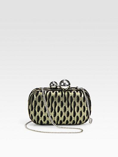 Diane von Furstenberg Sphere Metallic Suede Minaudiere Clutch